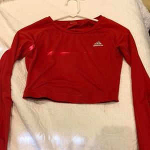 Red Adidas Tech fit Long Sleeve Crop Top
